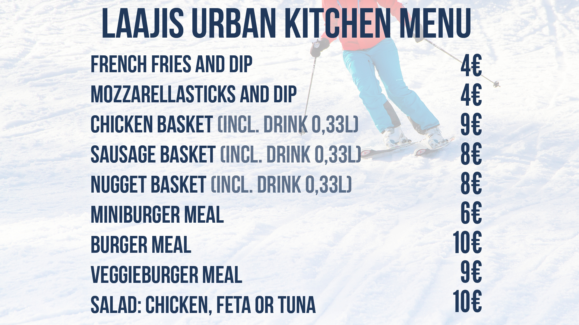 Laajis Urban Kitchen restaurant menu